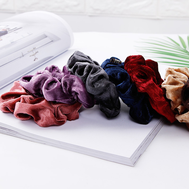 1PC Women Elegant Velvet Solid Elastic Hair Bands Ponytail Holder Scrunchies Tie Hair Rubber Band Headband Lady Hair Accessories 4