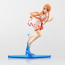 Anime Chara-Ani Sword Art Online SAO ALO Asuna Bikini Surfing Version 8CM PVC SEXY Action Figure Doll Toys Kids Gift