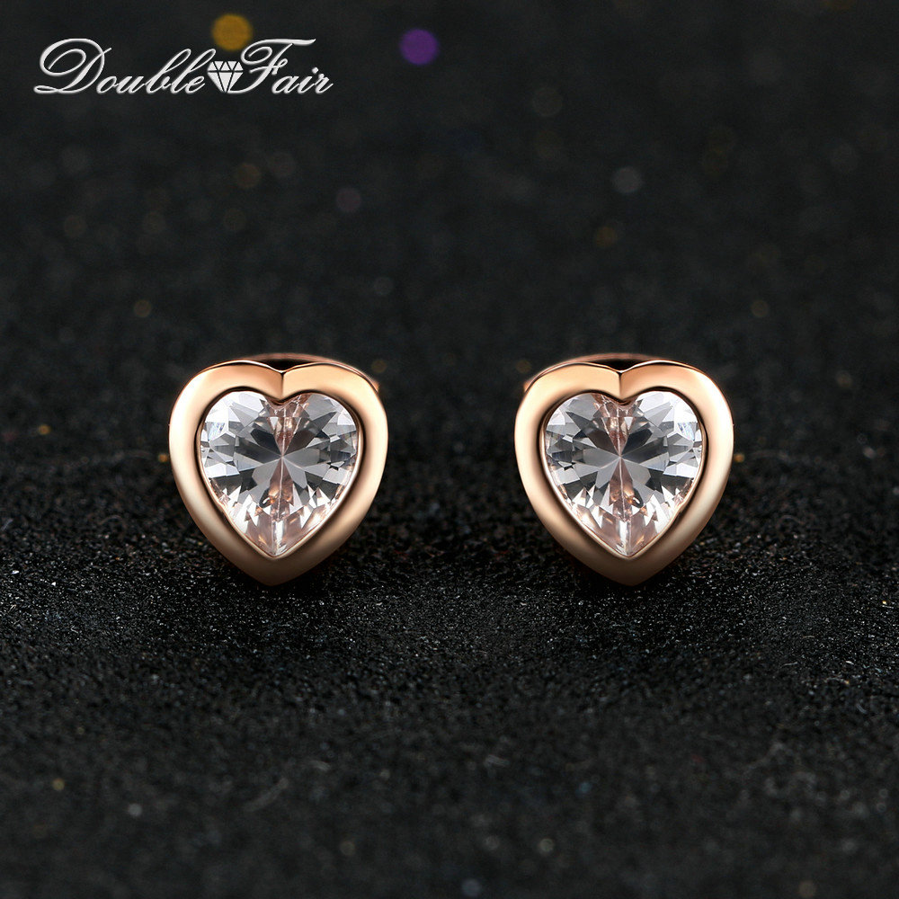 Hot Sale Love Heart AAA+ Stellux Crystal Party Stud Earrings Rose Gold Color Fashion Brand Wedding Jewelry For Women DFE262