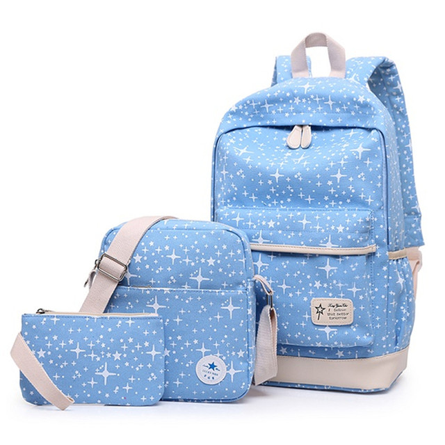 be482a3a21fd Women Printing Canvas Backpack 3pcs College Student Children School  Backpack Bags for Teenagers Girls Casual Rucksack Travel Bag