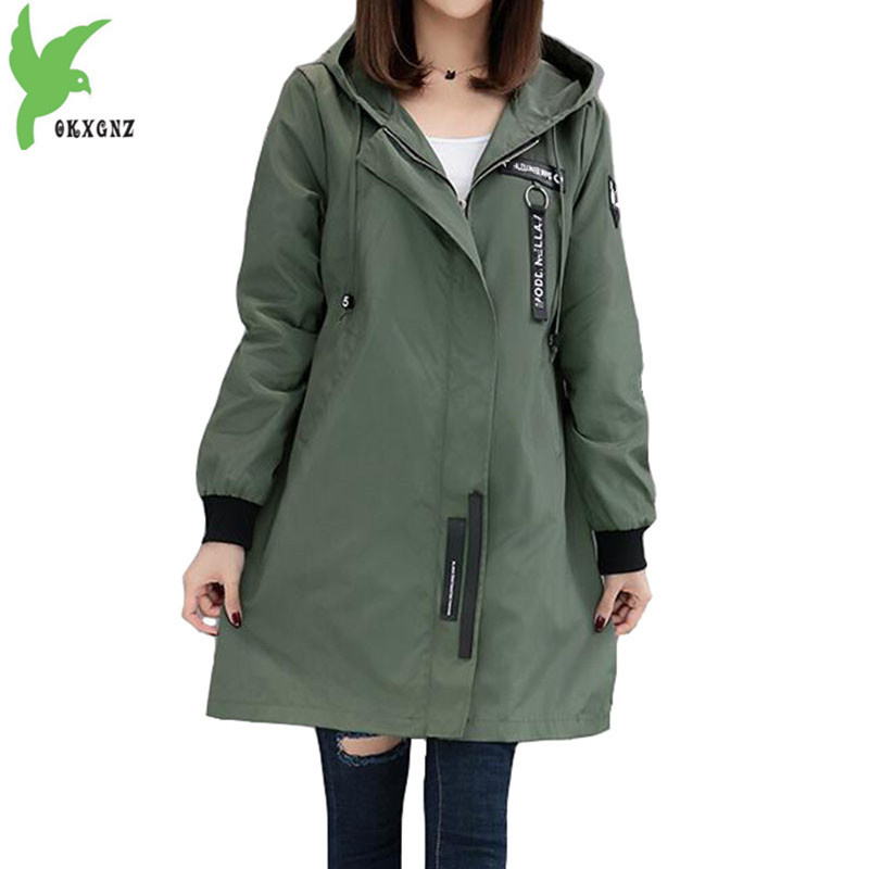 Trench coat Womens 2018 Spring Autumn Hoodies top Plus size Slim Students Baseball clothes Medium length Windbreaker Coats A1934