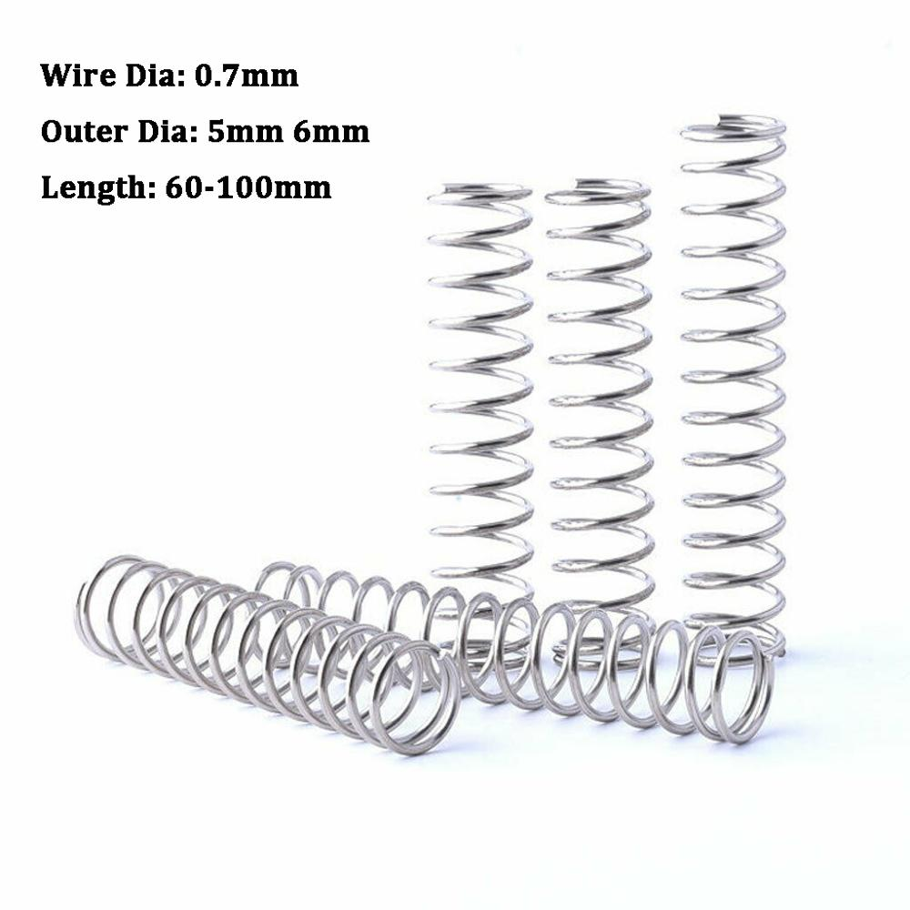 10Pcs Compression Spring Wire Dia 0.7mm White Zinc Plated Tension Spring Hardware Accessories Outer Dia 5mm 6mm