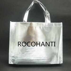 Image 2 - 10 piezas personalizadas película láser Laminado metálico cosido bolso para compras no tejido bolsa Color plata