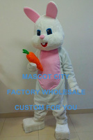 New Arrival Lovely Pink & White Easter Bunny Rabbit Bugs Mascot Costume Cartoon Character Bunny Outfit Suit Fancy Dress SW793