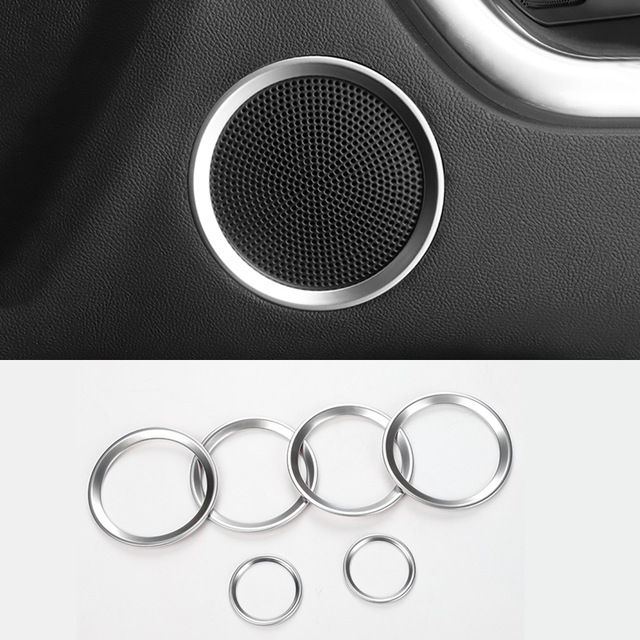 Estilo do carro ABS Fosco Falante De Áudio Porta Tampa Decorativa Círculo Anel Trims Quadro Para a Descoberta de Land Rover Sport 2016 2017 2018