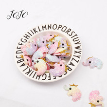 JOJO BOWS 5pcs Light Rainbow Onionn Glitter Embossed Belt Patches Crown Dolphin Elephant For Apparel Sewing DIY Headwear Crafts