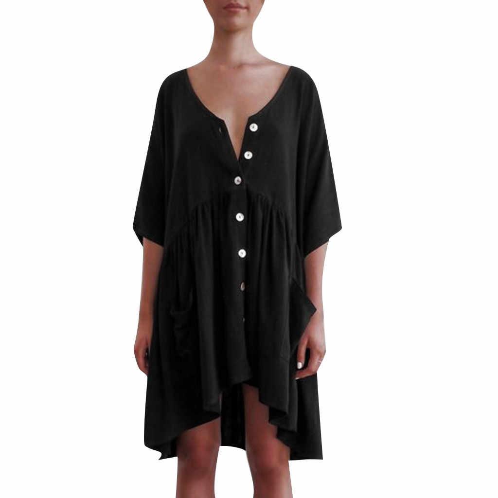 Для женщин Повседневное короткий рукав с летняя футболка с карманом мини-платье принцессы трапециевидного силуэта Higth Талия платье с v-образным вырезом хлопковое платье 2019