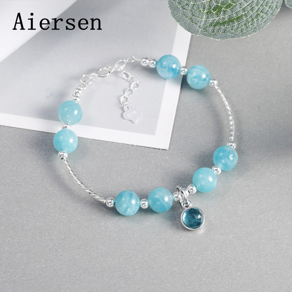 Aiersen 2018 Original Women's Bracelet Nature Aquamarine Gemstone Real 925 Silver Jewelry Fresh Beauty Sapphire Female Bracelets