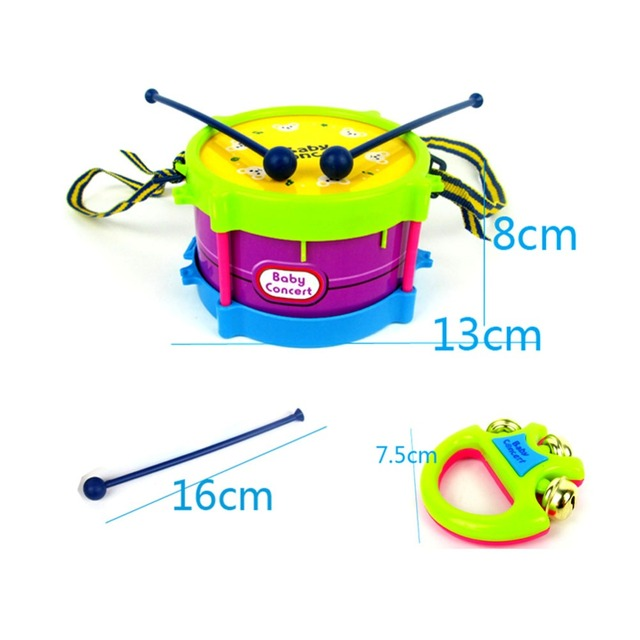 5pcs/set Musical Toy Set Roll Drum Musical Instruments Band Kits Kids Early Educational Toy Gift Baby Grasp Hand Bell Music Toy 4