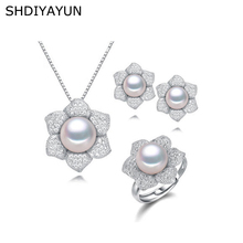 SHDIYAYUN Fine Pearl Jewelry Set Flower Natural Freshwater Pearls Rings Necklace Earrings 925 Sterling Silver Jewelry For Women