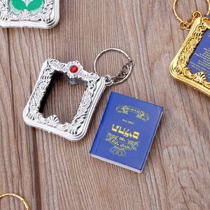 Image 4 - Mini ark alcorão livro de papel real pode ler árabe o alcorão chaveiro muçulmano jóias
