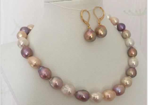 gorgeous set of 12-13mm south sea baroque multicolor pearl necklace &earring 925silver gorgeous pair of 16 18mm south sea baroque lavender pearl stud earring 14k