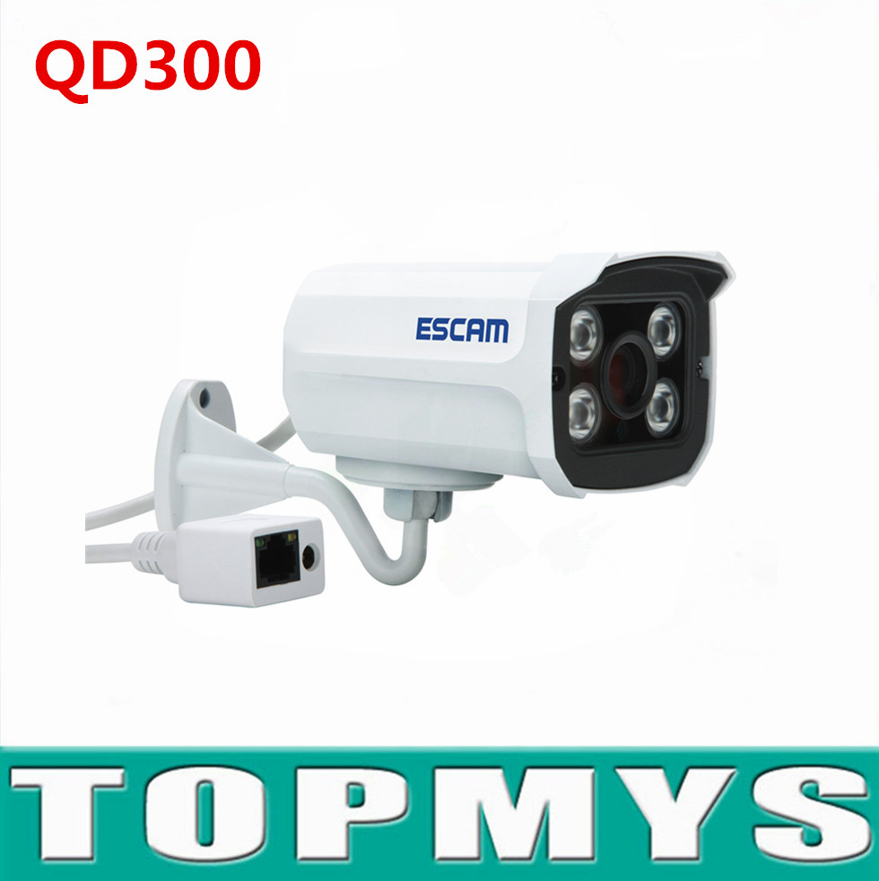Escam mini bullet camera QD300 720p HD IP camera IR night vision security CCTV network IP camera H.264 IP66 P2P 1MP outdoor cam h 264 1mp hd 720p ip camera poe outdoor ip66 network 1280 720 bullet security cctv camera p2p onvif night vision 40m ip camera