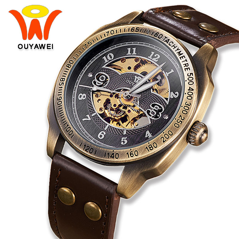 OUYAWEI 2017 Montre Steampunk Bronze Skeleton Mechanical Watches Mens Antique Automatic Leather Watch Mechanical Wristwatches ik colouring mechanical watch men skeleton automatic steampunk watch antique bronze retro gold montre homme wristwatch gift box
