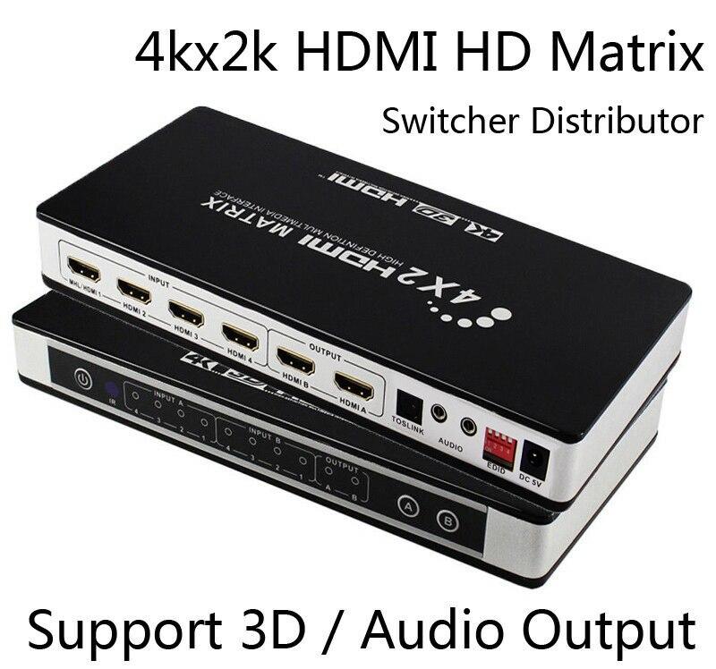 Full HD 4K 30Hz HDMI Matrix 4x2 répartiteur répartiteur 4 en 2 sortie convertisseur vidéo 1080P 3D/4K EDID TOSLINK sortie Audio