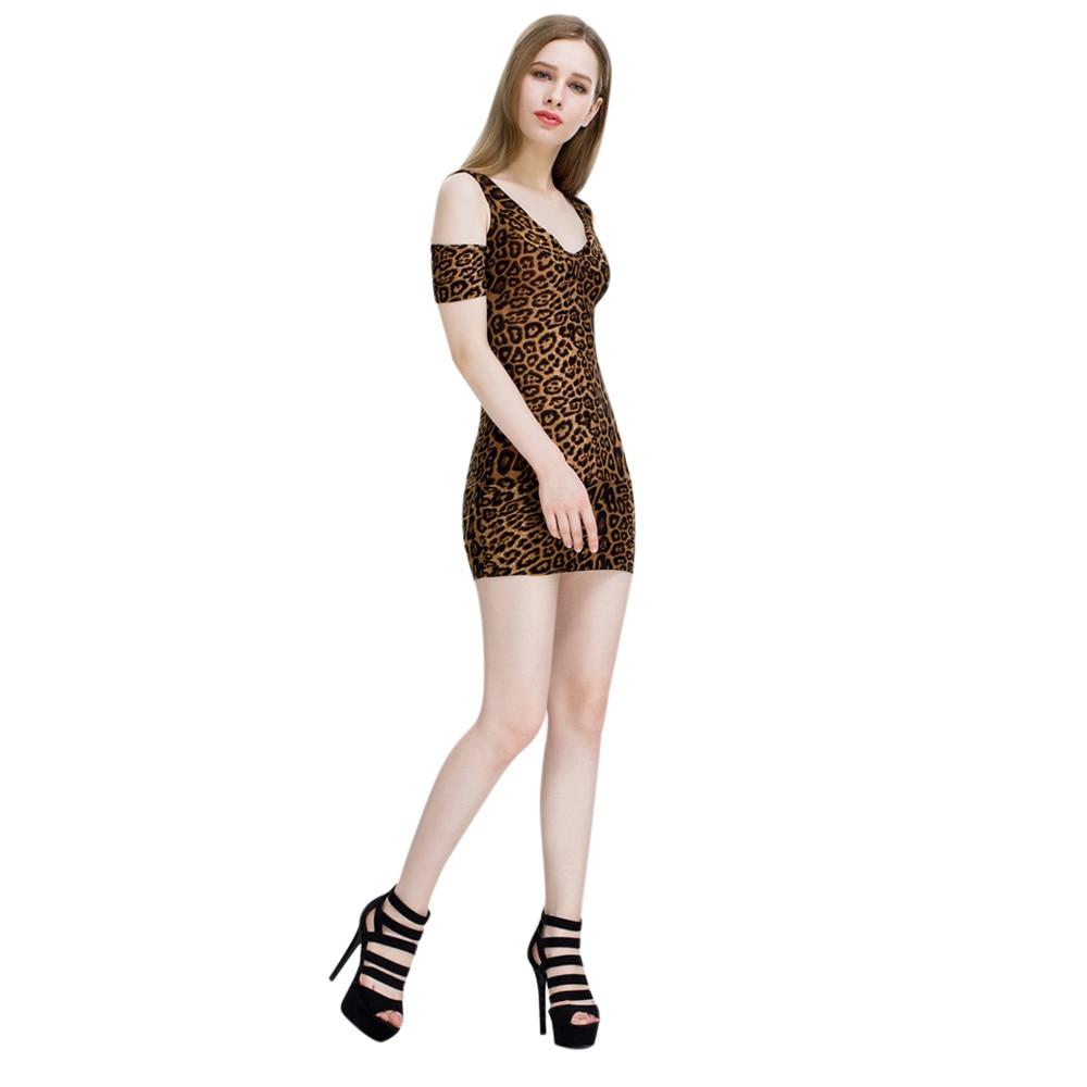 Women Sexy V-Neck Strapless Leopard Print Mini Dress Womens Bodycon Slim Evening  Party Club Dress Beach Casual Dresses 2017 c72450e28