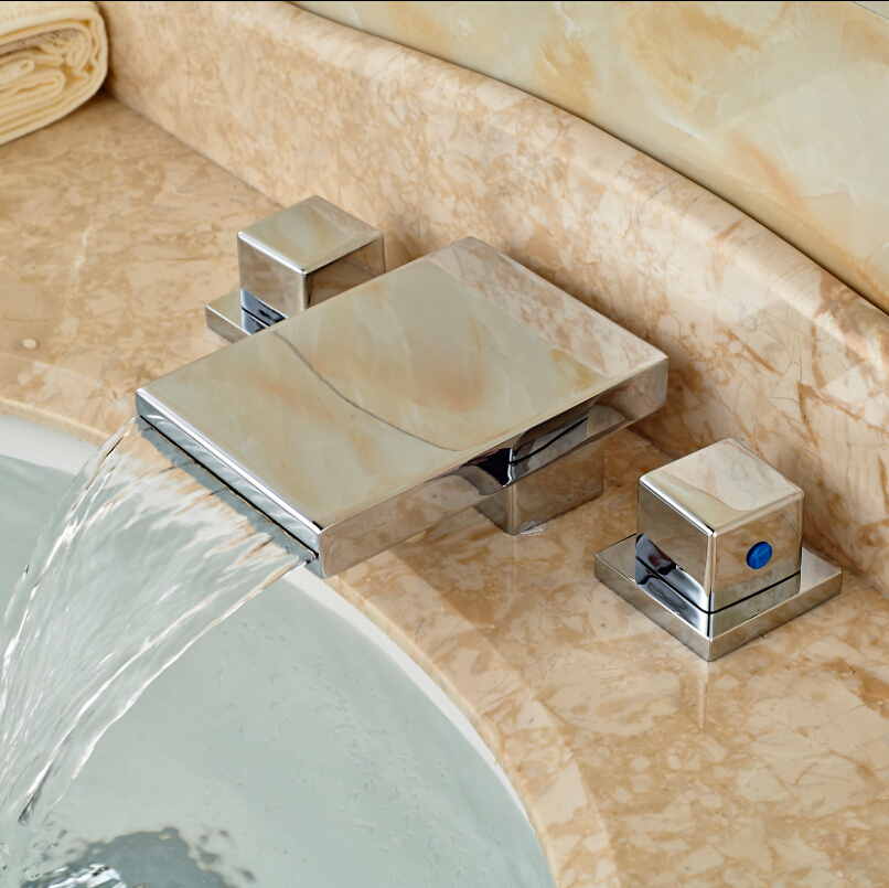 Brand New Widespread 3pcs Bathroom Bath Sink Basin Waterfall Faucet Chrome Finish Dual Handles