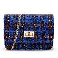 Mujeres bolsas de mensajero bolsas de diseñador de la aleta de la cadena mini bolso de embrague noche femenina de lana 2014 nuevo estilo star monederos bolsos femininas