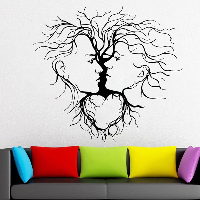 Male And Female Salon Model Vinyl Wall Art Decal Removable Sticker