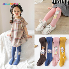 SLKMSWMDJ spring and autumn new baby pantyhose cartoon dolls childrens solid color girls leggings for 3-10 years old