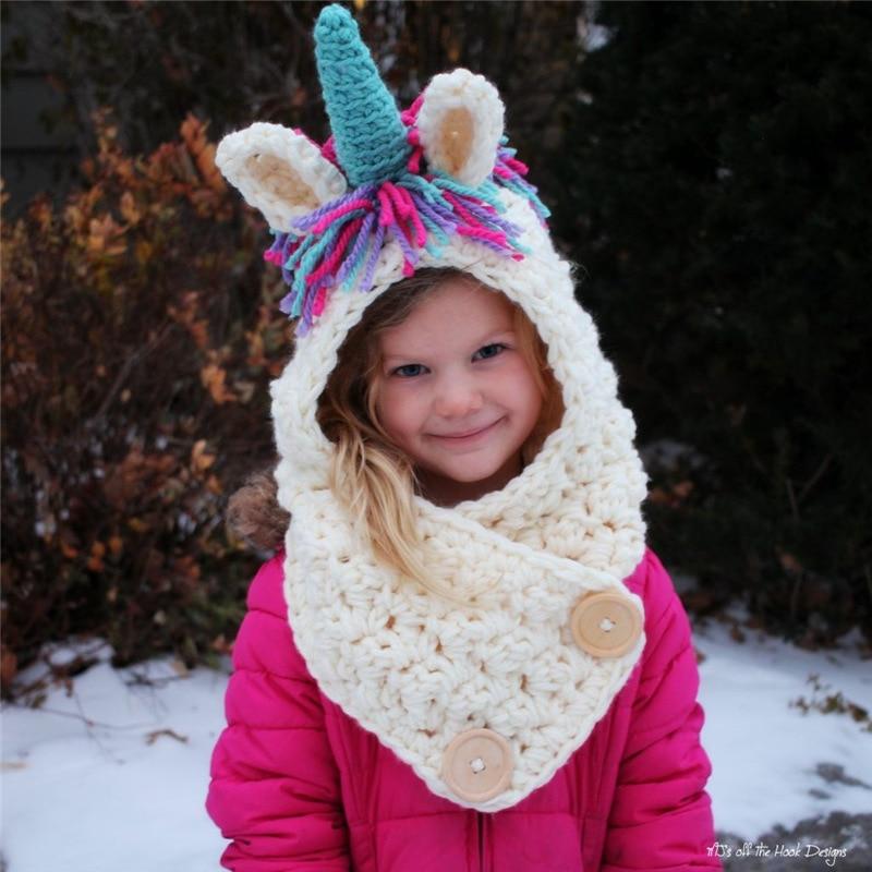 Unicorn Hooded Scarf Animal Hoodie Cowl Crochet Knitted Beanie Hat Kids US Stock
