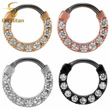 Crystal Septum Clicker 16G 8mm G23 Titanium Pole TOP Quality Nose Piercing Body Jewelry
