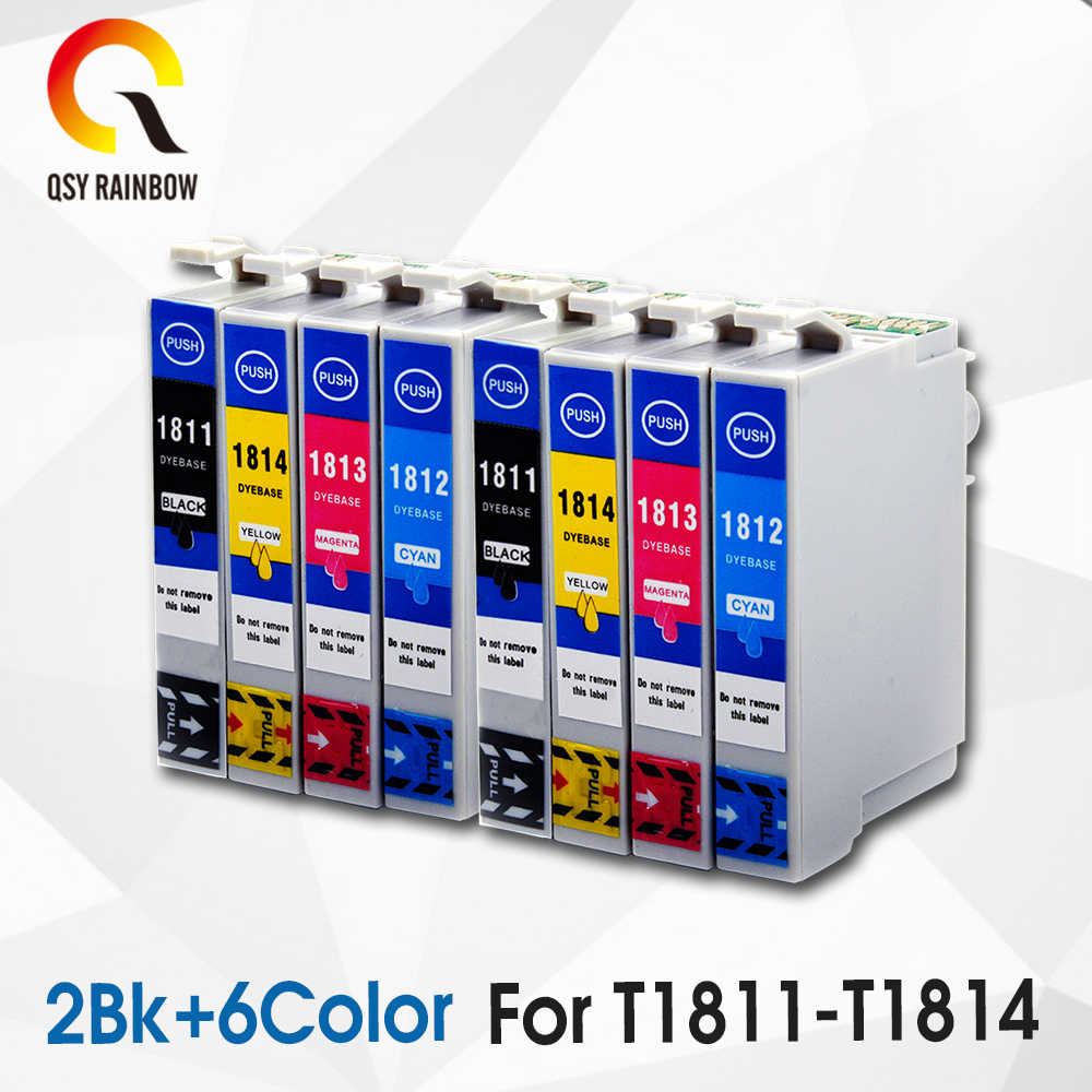 8 Pcs T1811 Ink Cartridge Kompatibel untuk Epson Ekspresi Rumah XP XP-30/102/202/205/302 /305/402 Printer