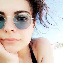 2639895ccb890 Europeus e Americanos estilo Polígono Irregular Pequeno Quadro Das Mulheres  Dos Homens Óculos de Marca Óculos De Sol De Luxo Mod.
