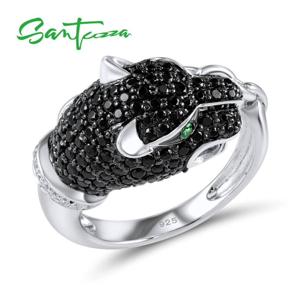 SANTUZZA Silver Leopard Ring For Women 925 Sterling Silver Innovative animal Natural Black Stones Ring Unique Fashion Jewelry