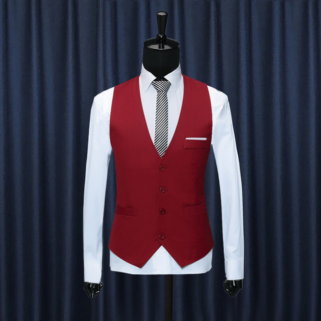 British Style Formal Mens Dress Vests Waistcoat Slim Fit Cotton Suit Vest Sleeveless Blazer Jacket Red Black Blue Plus Size XXXL