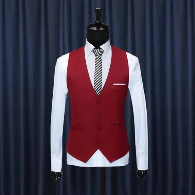 Estilo britânico Dos Homens Formais Vestido de Coletes À Prova de Colete de Algodão Slim Fit terno Colete Sem Mangas Blazer Jacket Preto Vermelho Azul Tamanho Mais XXXL