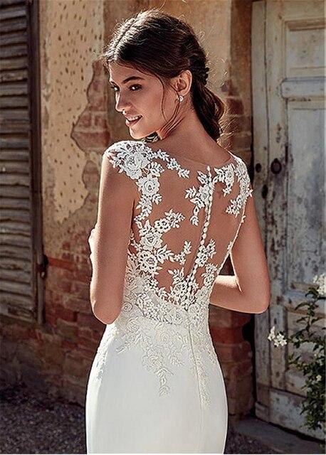 Modest Soft Satin Bateau Neckline Mermaid Wedding Dresses With Lace Appliques Sheer Bridal Dress Illusion Back 5