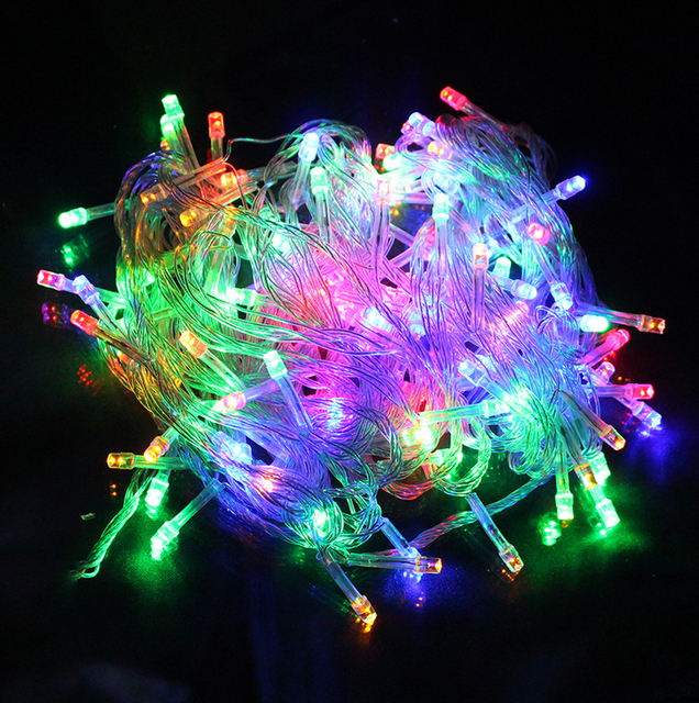 led string light 10m waterproof 110v220v 100 led holiday string lighting 9 colors christmas