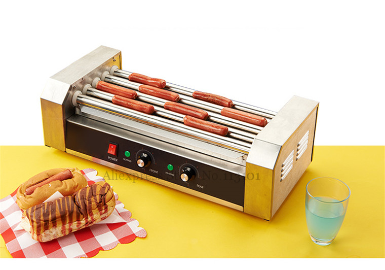 Hot Dog Grill Machine Roast Sausage Grill Maker Stainless Steel Hotdog Maker Cooker with 5 Rollers hot dog grill machine roast sausage grill maker stainless steel hotdog maker cooker with 5 rollers