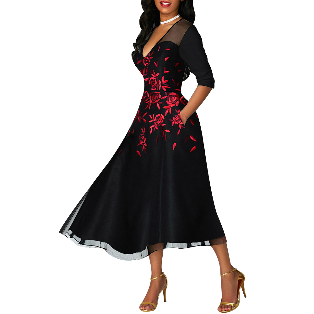 Dress Plus Size Women Casual Lace Sleeve Floral Embroidery Sexy V Neck Party Night Elegant Dress A-Line Vestidos Fashion New H20