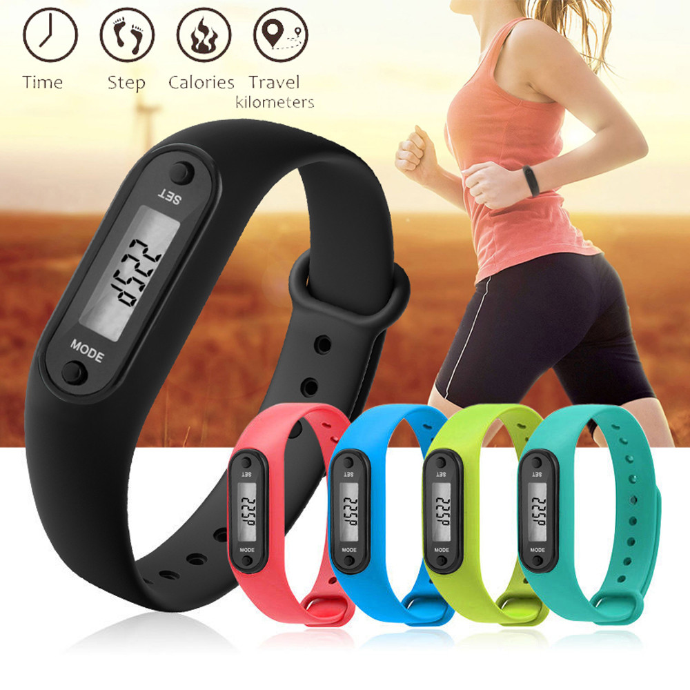 12 Colors Digital LCD Silicone Pedometer Run Step Walking Distance Calorie Counter Wrist Women&Men Sport Fitness Watch Bracelet
