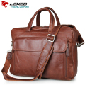 "LEXEB Men's Shoulder Bag With Handel Luxury Designer Cow Leather Briefcase Men Business Laptop Bags 15.6"" High Quality Brown"