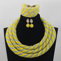 Fashion Yellow/Lilac Chunky Statement Necklace Set Nigerian Wedding African Beads Bridesmaid Jewelry Set Free ShippingABL934