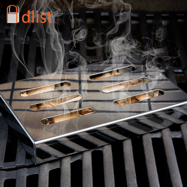 Cold Smoke Generator Stainless Steel BBQ Grill Square Smokers Wood Chips Grill Smoking Box Cook For Bacon Meat Fish Camping Tool