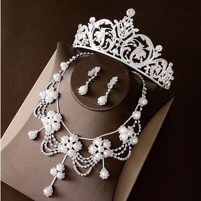 2017 New Silver Crystal Necklace Earrings for Women Wedding Jewelry Sets Whit K Plated Bridal Jewelry Sets With Tiaras & Crowns (3)
