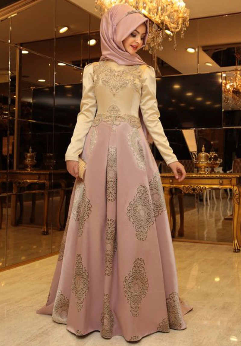 Arabic Evening Gowns Dress Women Dubai Hijab Prom Dresses Appliques ...