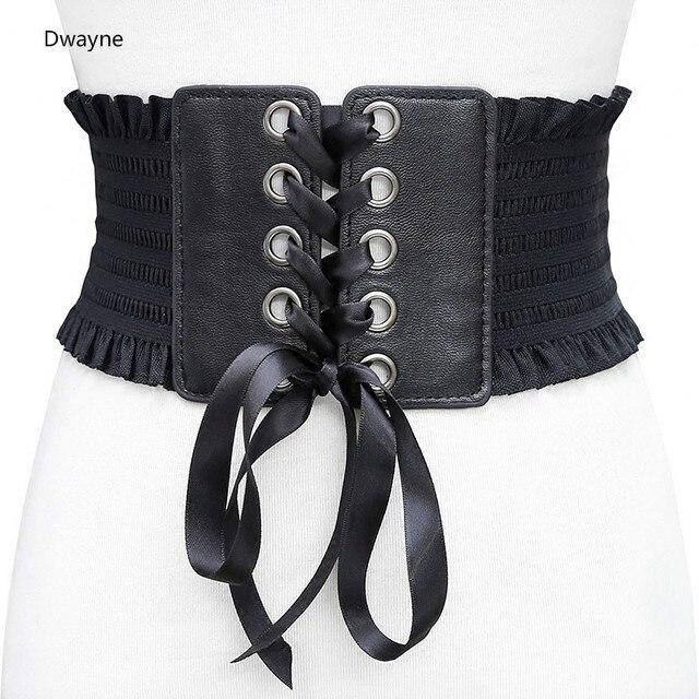 Vintage Femmes Large Robe Taille Ceinture Pour Les Femmes Mode Slim Faux en  cuir Élastique Taille 52bb88f90ca