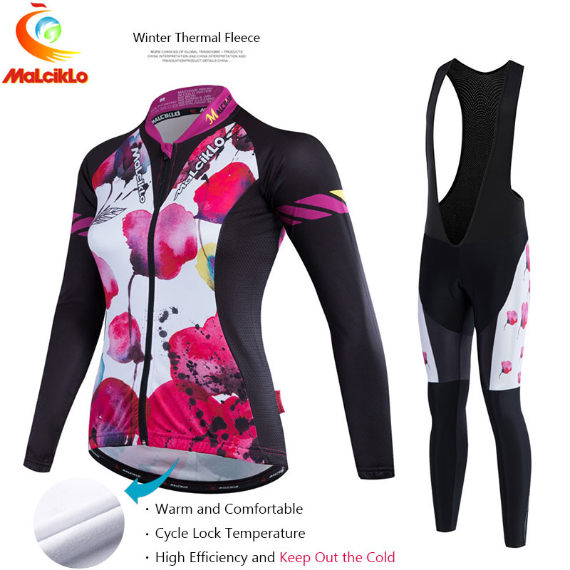 Malciklo Women 2017 Pro Fabric High Cycling Winter Thermal Fleece Jersey Long Set Ropa Ciclismo Bike