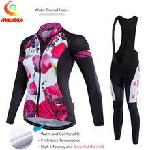 Malciklo Women 2017 Pro Fabric High Cycling Winter Thermal Fleece Jersey Long Set Ropa Ciclismo Bike Bicycle Clothing Pants W022