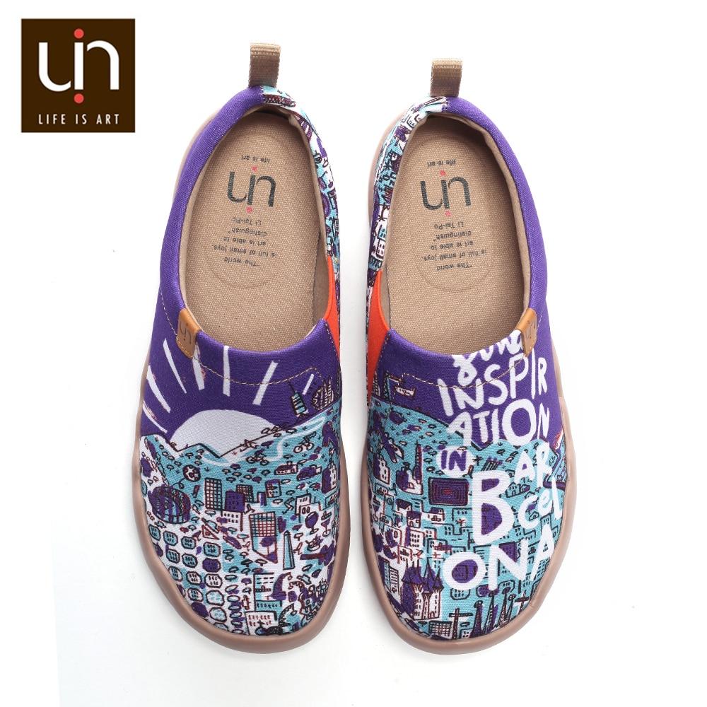 Zapatos de lona pintados con diseño de UIN para hombre, zapatos de lona transpirables, pies anchos, cómodos, zapatos ligeros-in Mocasines from zapatos    1