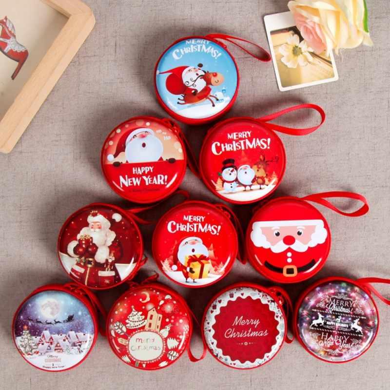 Mini Blikken Doos Verzegelde Pot Kerst Munt Opslag Blikjes Oorbellen Hoofdtelefoon Opslag Kids Xmas Boom Decoratie Bonbondoos Barokke