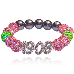 1908 charm rhinestone bead bracelet for aka 1908 pink and green jewelry