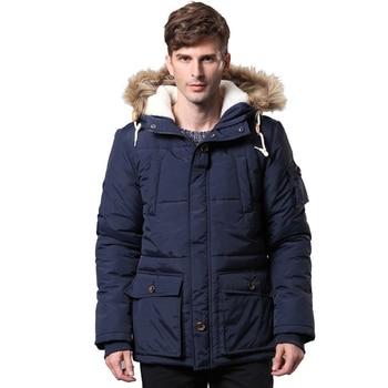 2019 Men's Winter Park Hooded Coat with Large Fur Collar Plus Velvet Thick Solid Color Jacket More Size M-XXL XXXL