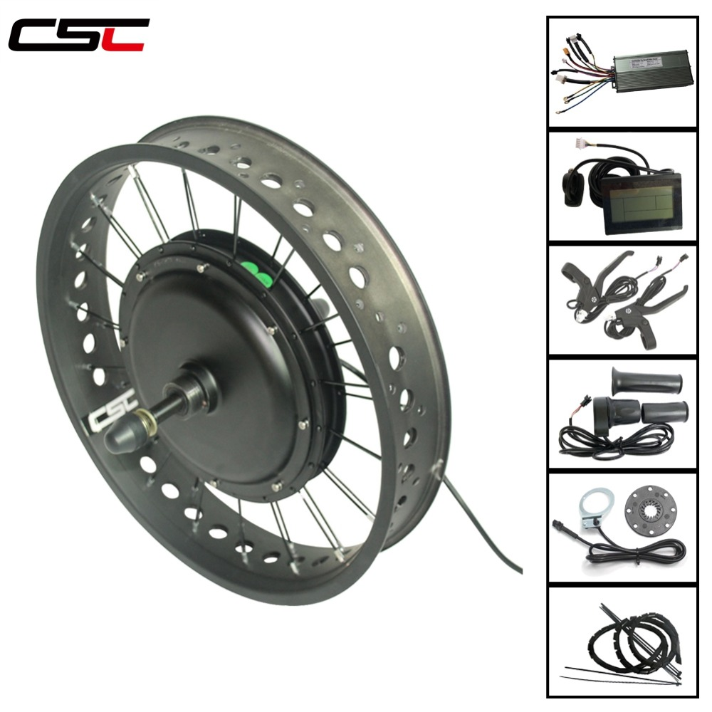 "48V Front Fat Tire Electric Bike eBike Conversion Kit 26/""//4/"",20/""//4/""Tire Rim-New!"