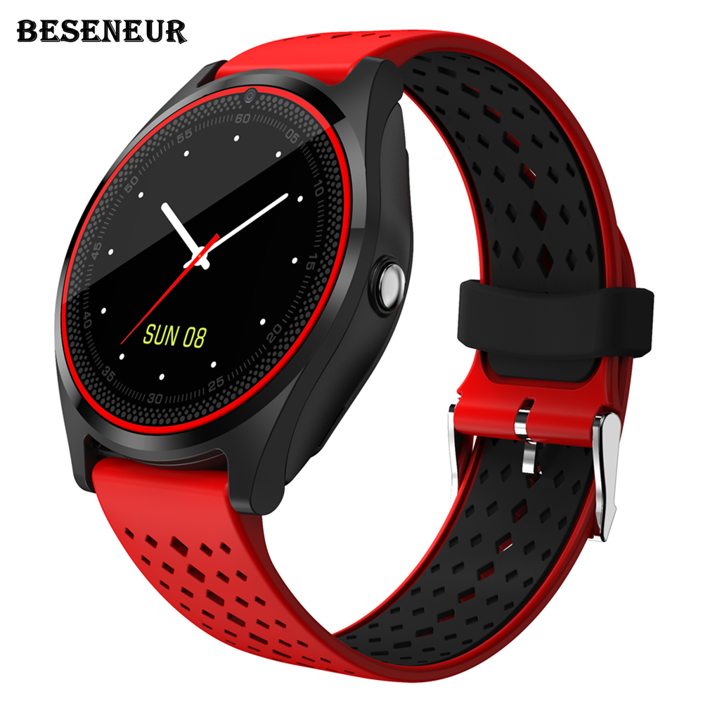 Beseneur V9 Smart Watch with Camera Bluetooth Smartwatch SIM Card Wristwatch for Android Phone Wearable Devices pk dz09 A1 gt08 smartwatch hd screen support sim card bluetooth devices smart watch magic knob for apple android phone dm09 pk dz09 gt08 watch
